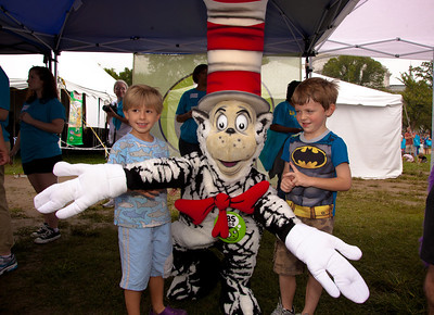 Cat in the Hat and his friends Jack Beck (age 5) and Jack Hills (5)