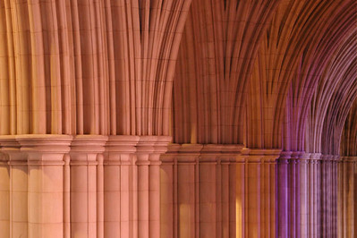 Light thru Stained Glass on Pillars