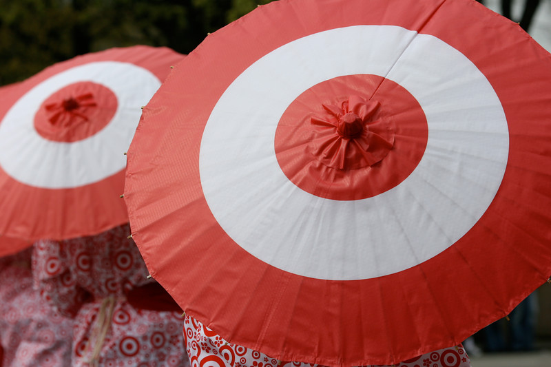 Target apparently is a parade sponsor. But c`mon, Target parasols and kimonos?