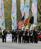 It's not every day you see men in uniform carry pastel flags.