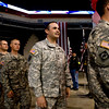 1st Lt. Timber Toste, of Broomfield, walks in with the rest of his unit for the National Guard homecoming ceremony at the 1st Bank Center in Broomfield, Thursday, April 1, 2010. Toste just returned from a tour in Iraq.