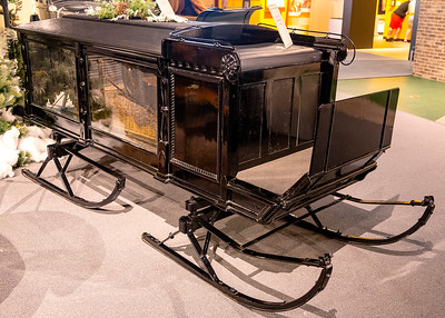Glass-walled sleigh hearse
