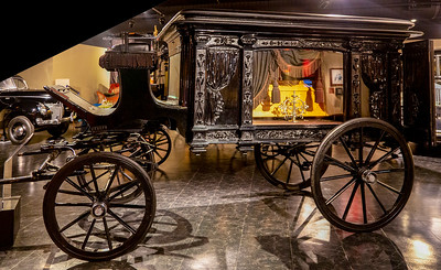 A classic 19th-century glass-walled hearse