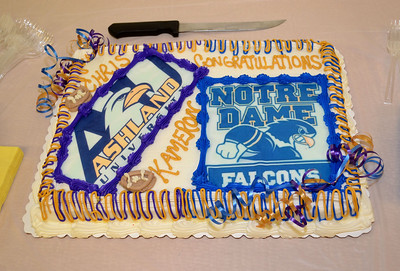 Cake to celebrate National Signing Day 2013 for Lutheran West's Chris Ranc (Ashland University) and Kameron Bremer (Notre Dame College).  Photo courtesy of Ryan Kaczmarski of WestLife.
