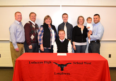 Chris Ranc (Ashland University) is joined by his family on National Signing Day 2013.  Photo courtesy of Ryan Kaczmarski of WestLife.