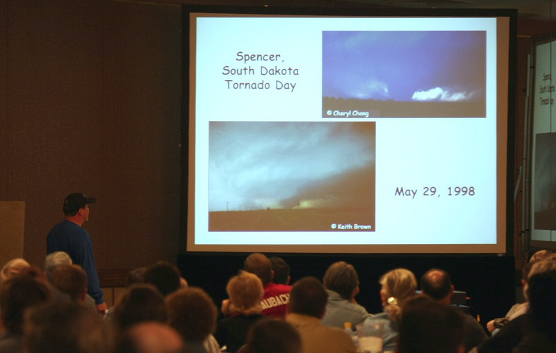 Jon Davies begins his highly educational presentations with a case study of the Spencer, SD tornadoes.  For more info on this tornado outbreak event, check out this link: http://www.stormeyes.org/tornado/spencer/spenwx.htm