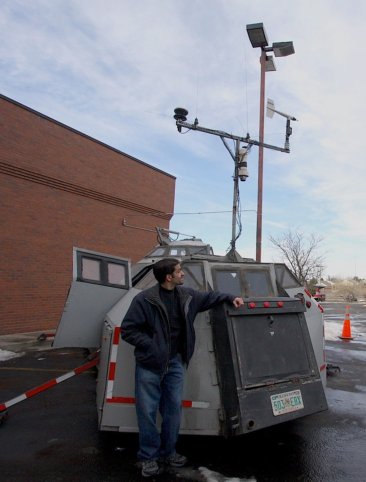 Posing with the TIV. It's not too often you get to stand next to a 13 ton hunk of steel with a weather station & hydraulic claws!