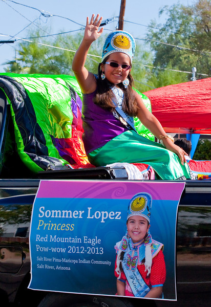 Sommer Lopez is the Princess for the Red Mountain Eagle Pow-wow 2012 - 2013 from the Salt River Pima-Maricopa Indian Community, Arizona.