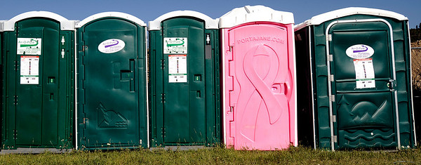 Pink Port-a-Potty at the first day of NedFest 2009 in Nederland, Colorado August 28, 2009. CAMERA/Mark Leffingwell