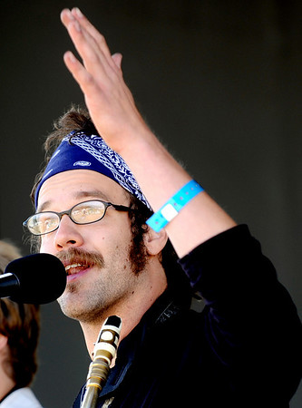 Euforquestra's Austin Zalatel sings during the first day of NedFest 2009 in Nederland, Colorado August 28, 2009. CAMERA/Mark Leffingwell