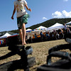 Rain (no last name) dances barefoot at the first day of NedFest 2009 in Nederland, Colorado August 28, 2009. CAMERA/Mark Leffingwell