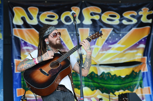 """David Matters of the group, Gipsy Moon, plays at Nedfest on Sunday, August 26, 2012.<br /> For more photos and a  video of the Nedfest, go to  <a href=""""http://www.dailycamera.com"""">http://www.dailycamera.com</a>.<br /> Cliff Grassmick  / August 26, 2012"""