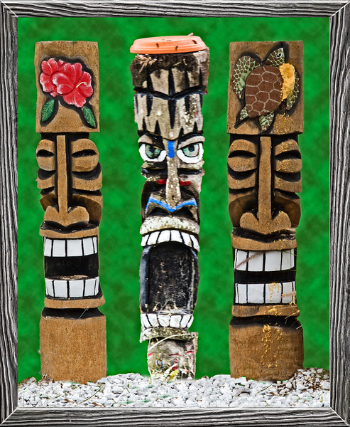 Three different Totem Poles I saw walking around our neighborhood