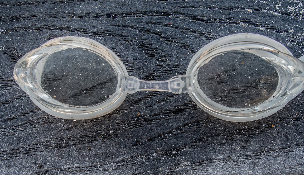 A pair goggles I saw sitting on the broad wall railing