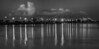B&W photo of Melbourne Causeway at Sunrise from Riverside Park