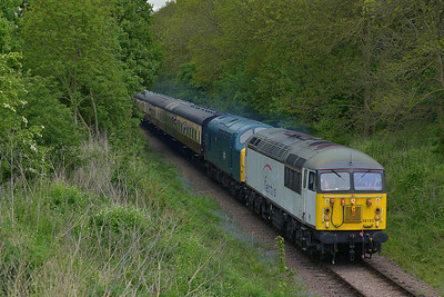 Class 56 No 56103 & Class 37 No 37109 at Castor on 18 May 2013 with the 2M45 10:55 Peterborough - Wansford