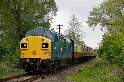 Class 37 No 37109 at Castor on 18 May 2013 with the 2M49 13:50 Peterborough - Wansford