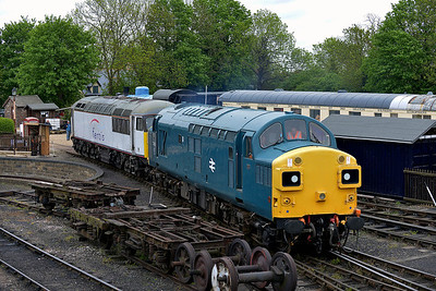 Class 37 No 37109 and Class 56 No 56103 in Wansford Yard on 18 May 2013