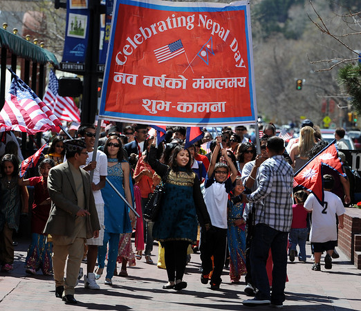 "Dozens of Colorado residents in and around Boulder, celebrated Nepal Day 2011 with a parade down Pearl Street.<br /> For a video and photo gallery of the Nepal Day, go to  <a href=""http://www.dailycamera.com"">http://www.dailycamera.com</a>.<br /> Cliff Grassmick/ April 16, 2011"