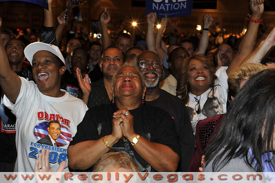 Photo for sale or download of Democratic voters watching the Presidential Election 2008 night at Rio Hotel and Casino in Las Vegas by Las Vegas photographer Mark Bowers.