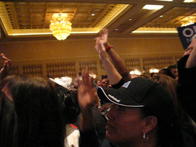 Video of Nevada Democratic Party crowd at Rio Hotel in Las Vegas singing Good-bye to McCain as votes rise up future president Obama.