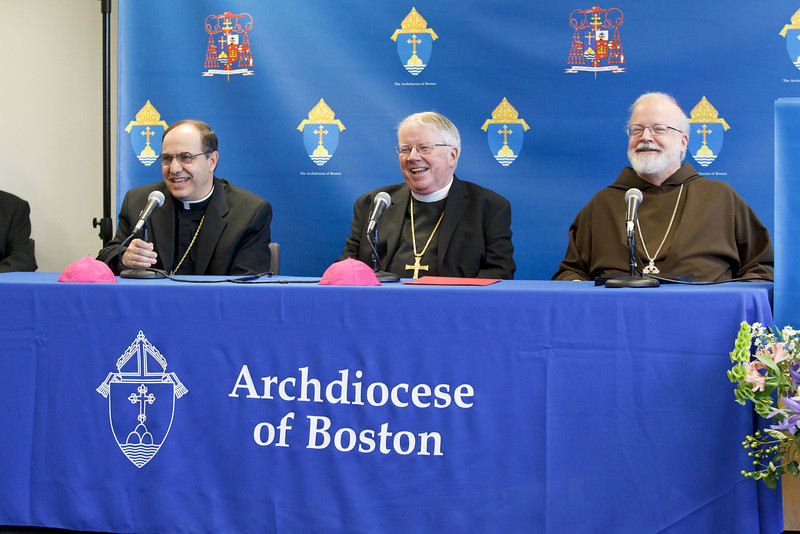 It was annouced at a June 30, 2010 press conference that Fathers Peter Uglietto and Arthur Kennedy have been named by Pope Benedict to be new auxiliary bishops of Boston.  Following the press conference the new bishops-elect concelbrated Mass with Cardinal Seán P. O'Malley. <br /> Photo by Gregory L. Tracy, The Pilot