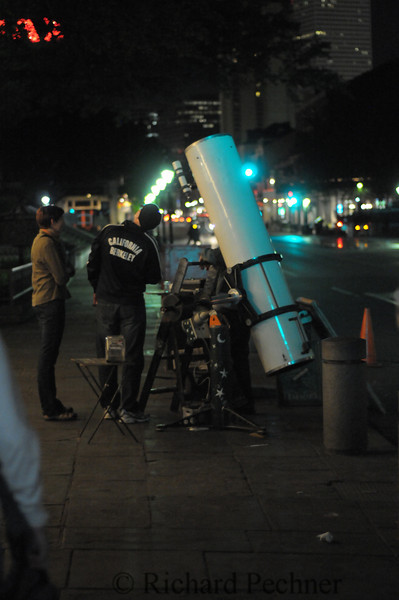 """John T. Brown has been setting up his 12.5"""" f/6 Meade reflector  telescope on the sidewalks of New Orleans for over 35 years!  We had a great look at Saturn and 1 of her moons."""
