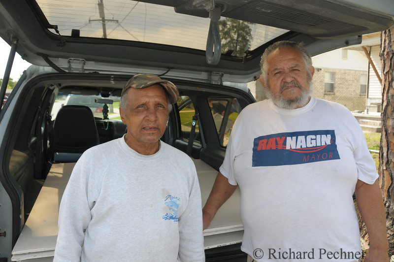 Curtis and Herbert, neighborhood residents,  stopped by our job site and inquired about a stack of sheet rock we had placed by the curb, hoping someone would come by and be able to use it.  They could and we helped them load it into their van.  Herbert is a 2nd cousin to Mayor Nagin.