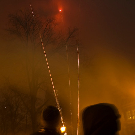 New Year 2007 <br /> Not for the feint-hearted. Fireworks launched randomly from narrow lanes, in close proximity to houses, trees and crowds.