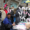 A man selling bunny ears at New York City's Easter Parade