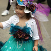 A little girl dressed up for New York City's Easter Parade