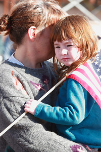 5 year old Rose Robinson and her mom, Chris, at Brown's Square during the Newburyport Veteran's Day Parade.