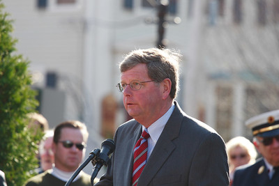 Newburyport Mayor, John Moak at Brown's Square during the Newburyport Veteran's Day Parade.