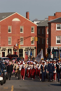 The Newburyport Veterans Day Parade makes it's way up State Street at Market Square.