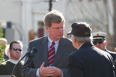 Newburyport Mayor, John Moak and Veterans Agent Frank DeZenzo at Brown's Square during the Newburyport Veteran's Day Parade.