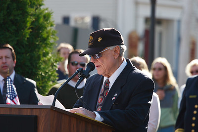 Newburyport Veterans Agent Frank DeZenzo at Brown's Square during the Newburyport Veteran's Day Parade.