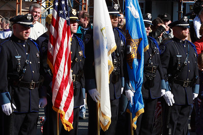 Essex County Sherriff's Dept Honor Guard at Brown's Square during the Newburyport Veteran's Day Parade.
