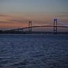 The Newport Pell Bridge lighted Red White & Blue