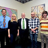From left are Byron Clercx; student Emma Nilsson; President Kopp; and students Doug Hawley and John Fowler. Hawley won the plate design competition while Nilsson's group was third in the video competition.