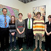 From left are Byron Clercx, chair of Marshall's department of art and design; students Kacy Manilla and Rachel Moyer; MU President Stephen J. Kopp; and students John Fowler and Felicia Stephenson. Moyer took first place in the card design competition.