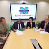 From left, Kevin Yingling, dean of the Marshall University School of Pharmacy, Dr. R. Charles Byers, provost and vice president for academic affairs at West Virginia State University, Dr. Katherine Harper, dean of WVSU's College of Natural Sciences and Mathematics, and Dr. Gayle Ormiston, senior vice president and provost at Marshall, participate in a signing of a memorandum of understanding.