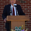 "James H. ""Buck"" Harless speaks at Marshall University during dedication of the Harless Dining Hall in 2004. Photo by Rick Haye/Marshall University"