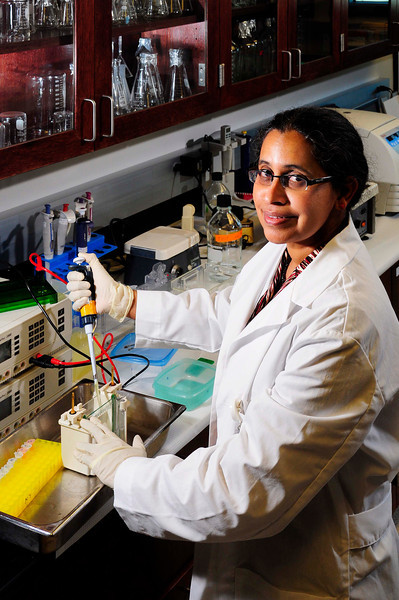 Dr Nalini Santanam at the Marshall University - Robert C. Byrd Biotech Center, Huntington, WV.