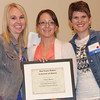 Tonya Davis (center) stands with Mallory Mount, scholarship and awards chair for WVAND, and Dietetics Department Chair Dr. Kelli Williams during the 2014 annual WVAND state conference, where she was recognized as the Outstanding Dietetic Student of the Year.