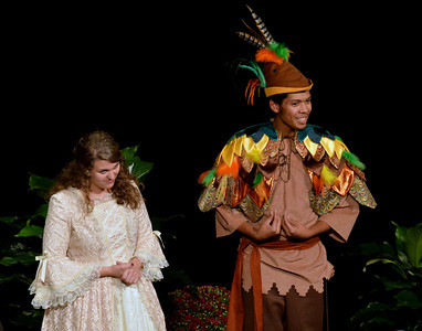 Laura Campbell (left) and Robert Nunez preview their roles in Marshall University's production of Mozart's Magic Flute, which will take place Oct. 19-20. Photo by Rick Haye/Marshall University.