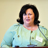 Karen Riffle spoke on behalf of scholarship donors April 13 at the Scholarship Honor Brunch at the Marshall University Foundation Hall.