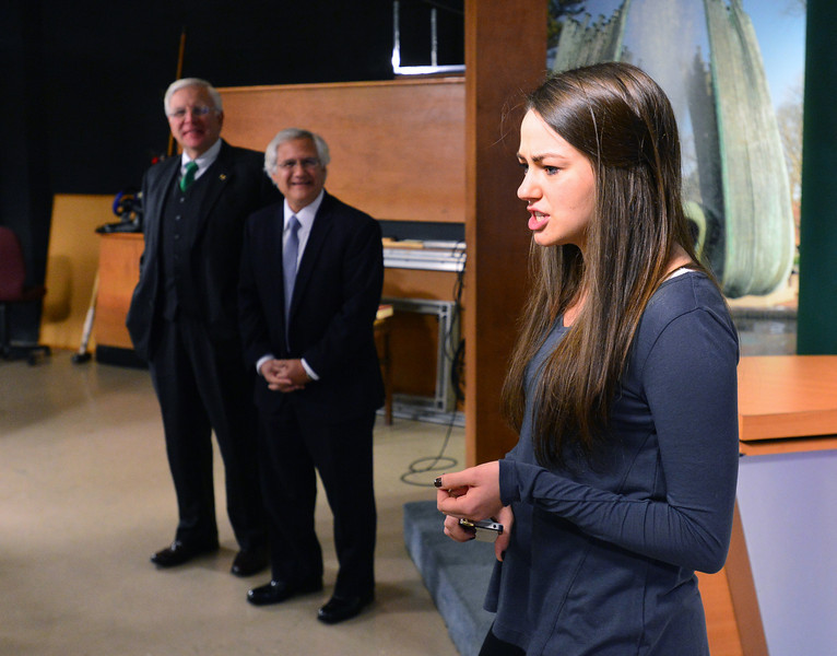 Marshall University graduate student Hanna Francis talks about the Marshall broadcasting program to students from MCTC as Marshall president Stephen J. Kopp and Mountwest President Keith J. Cotroneo look on. The presidents signed a 2+2 Articulation Agreement  Nov. 13 in Studio A on Marshall's Huntington campus  that will benefit students studying journalism and mass communications.