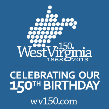 West Virginia's 150th birthday logo.