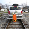 The railroad track inspection system Richard Begley and Tony Szwilski invented uses a combination of GPS devices, cameras and ground penetrating radar to measure track wear and other problems, and is mounted on a mobile platform attached to a sports utility vehicle or rail bike that has been adapted to run on the tracks. Photo courtesy of Marshall University.