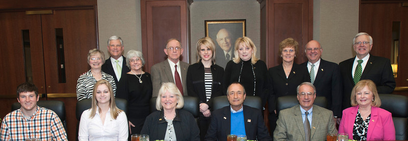 Marshall President Stephen J. Kopp, back right, joins with members of the Shewey family and others for a photograph before a luncheon March 19 in the Marshall University Foundation Hall, home of the Erickson Alumni Center, announcing establishment of the Shewey Family Scholarship Program.